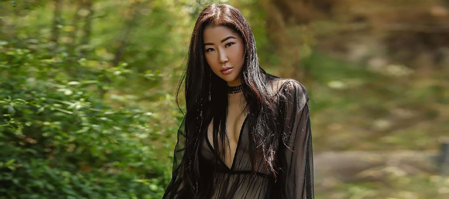 beautiful vietnamese woman in woods