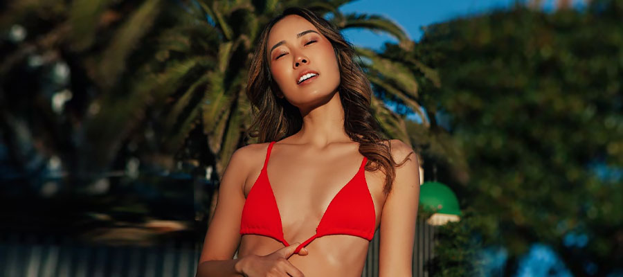 beautiful chinese bride in red top